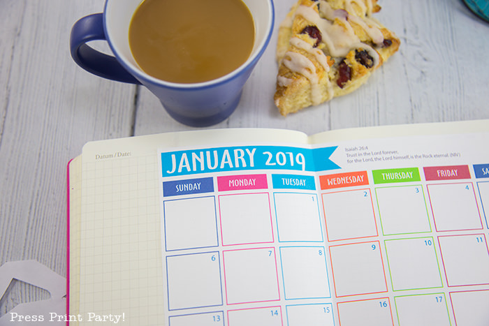 free 2019 printable calendar on wood with coffee and scone - Press Print Party!