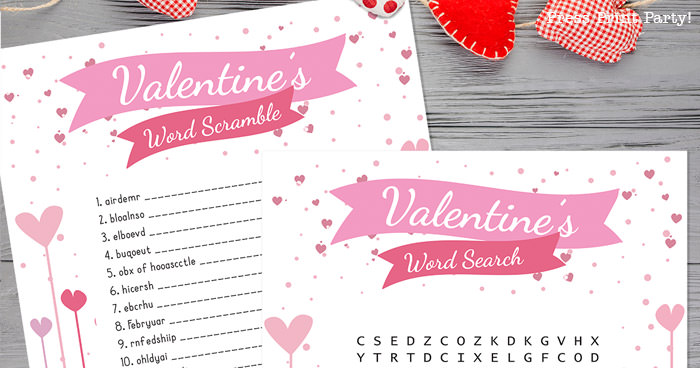 Free Valentine word search and Valentine's day word scramble for kids 2 levels - Press Print Party!.