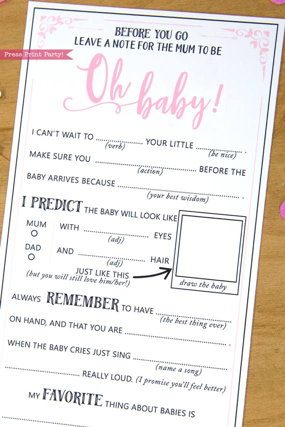 Mum to be Baby Shower MadLibs Advice Card Printable, Mom