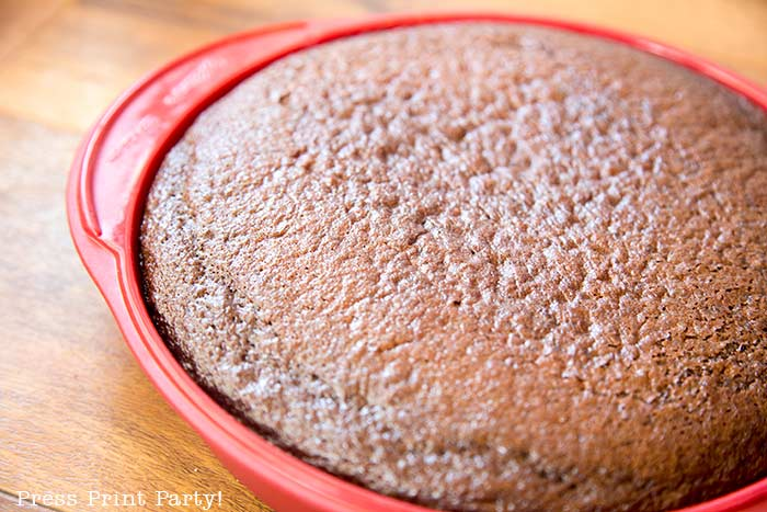 chocolate cake in pan out of the oven