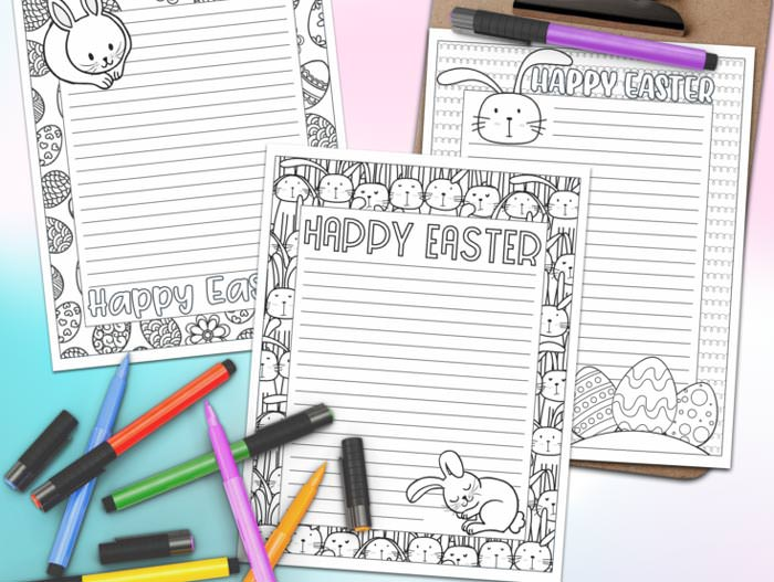 Easter free printable coloring stationary