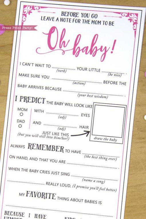 Baby Shower Mad Libs Advice Card, Baby Girl