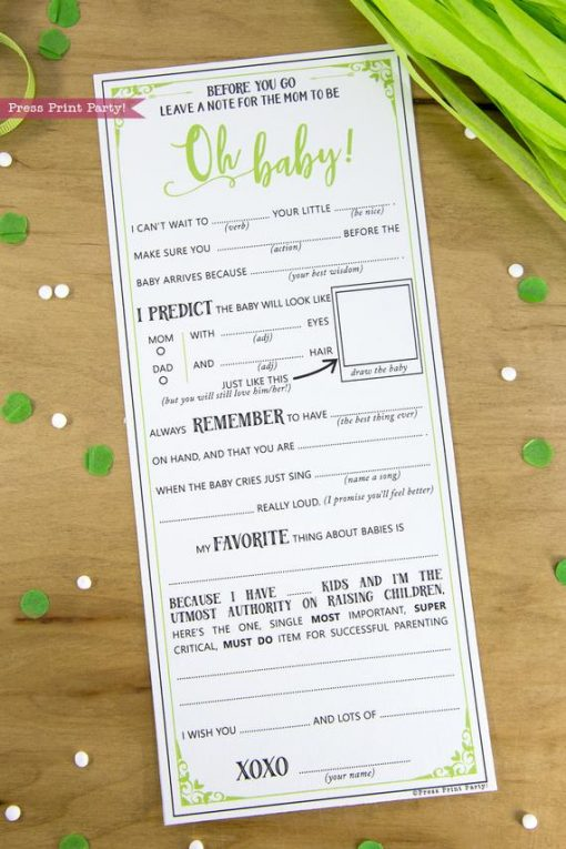 Baby Shower MadLibs Advice Card, Baby Girl or boy