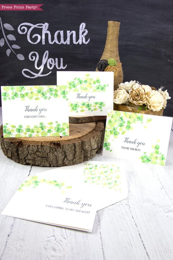 4 Thank you card templates printable with watercolor eucalyptus and editable with your own text. w. printable envelope - Press Print Party!