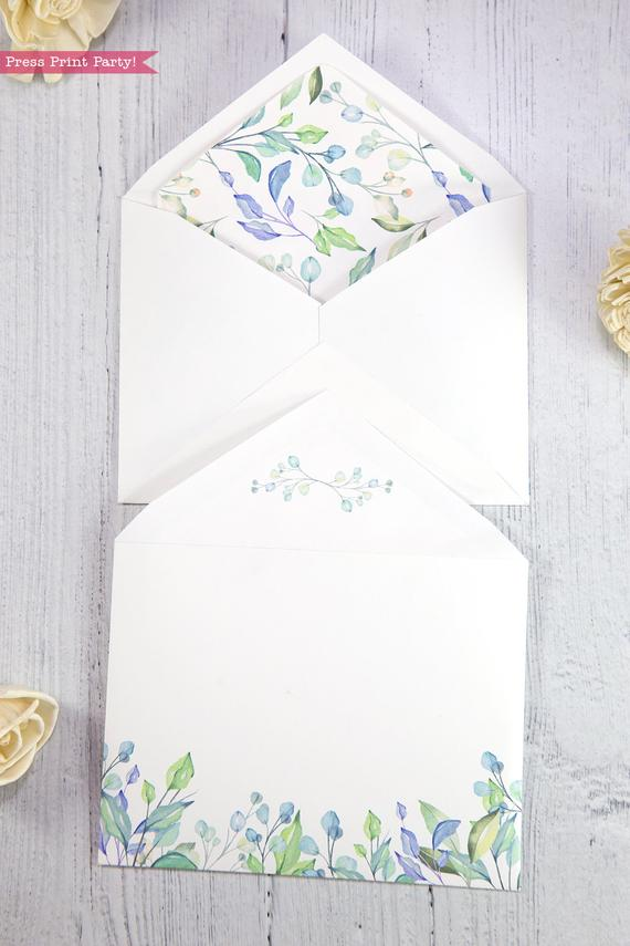 Thank you card envelope template printable watercolor greenery with insert- Press Print Party!