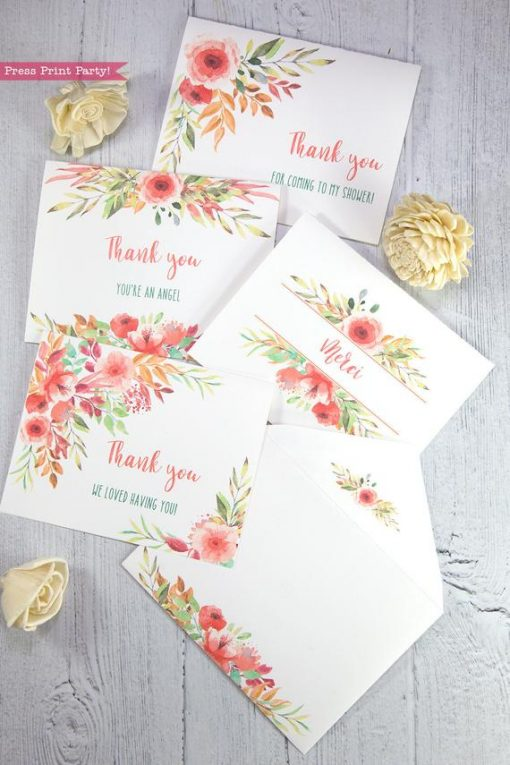 4 Thank you card templates printable with peach watercolor flowers and editable with your own text. w. printable envelope - Press Print Party!