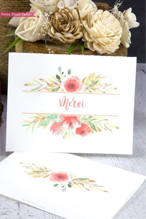 Thank you card templates printable with peach watercolor flowers and editable with your own text. w. printable envelope - Press Print Party!