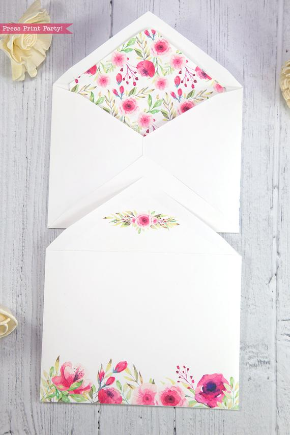 Thank you card envelope template printable pink watercolor flowers with floral insert- Press Print Party!