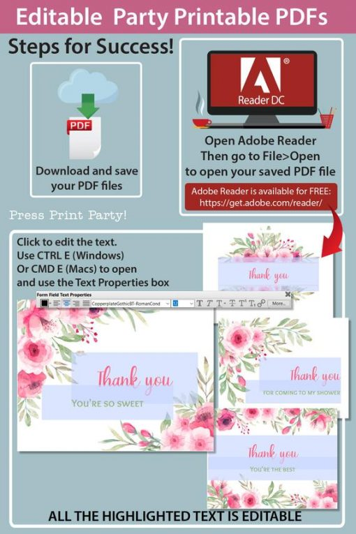 Instructions for Thank you card templates printable with pink watercolor flowers and editable with your own text. w. printable envelope - Press Print Party!