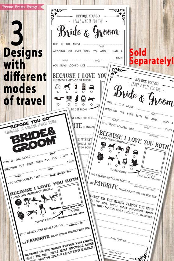 Wedding Mad libs, marriage advice cards - 3 different designs - Press Print Party!