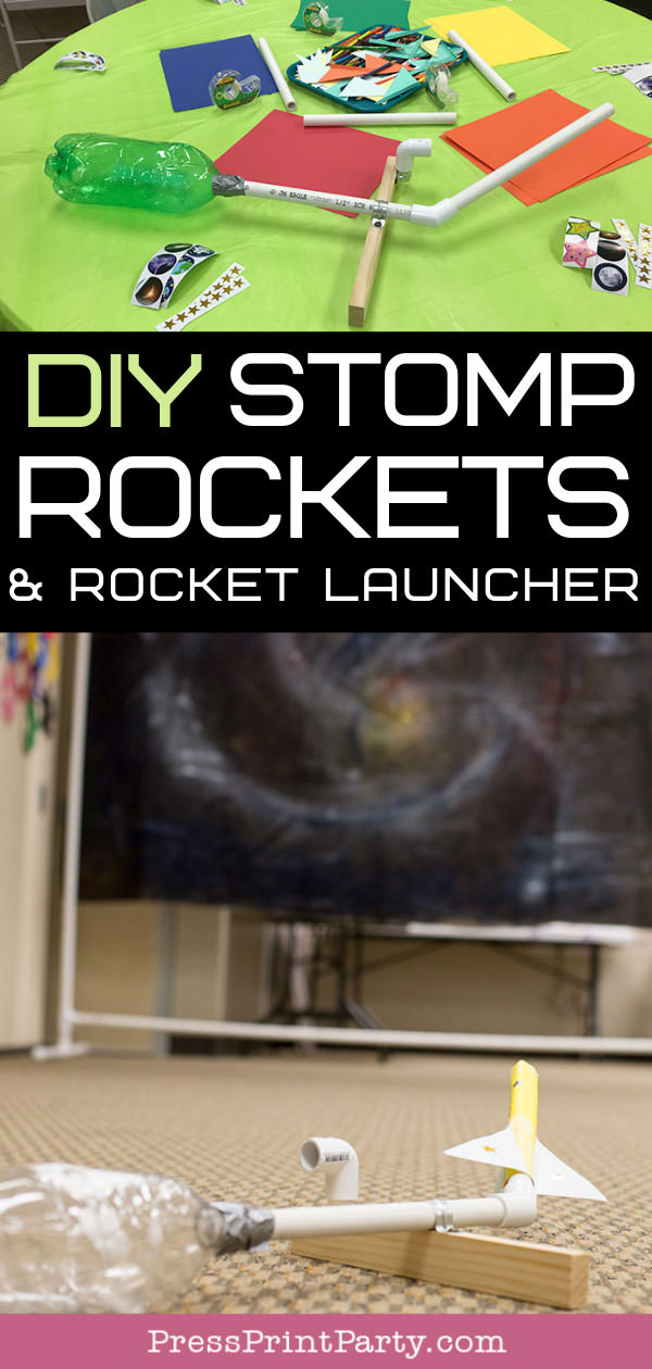 DIY stomp rockets and rocket launcher with galaxy backdrop for VBS activity
