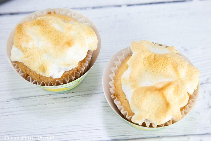 lemon meringue cupcakes recipe with lemon filling - easy homemade from scratch best dessert - free lemon cupcake wrapper - Press Print Party!