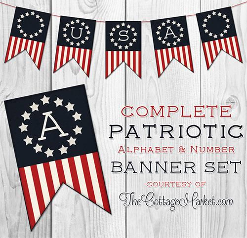 free patriotic banner set red white and blue