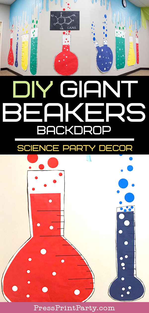 science party DIY beakers paper backdrop. Red and blue beakers.