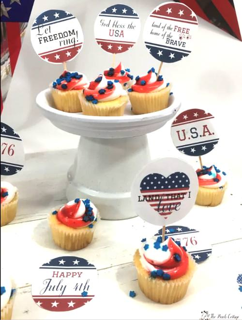 cupcakes with patriotic toppers free