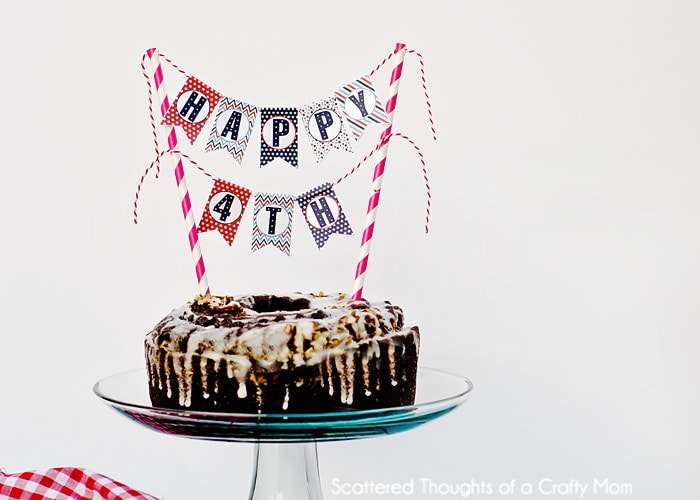 happy 4th cake topper mini bunting free printable