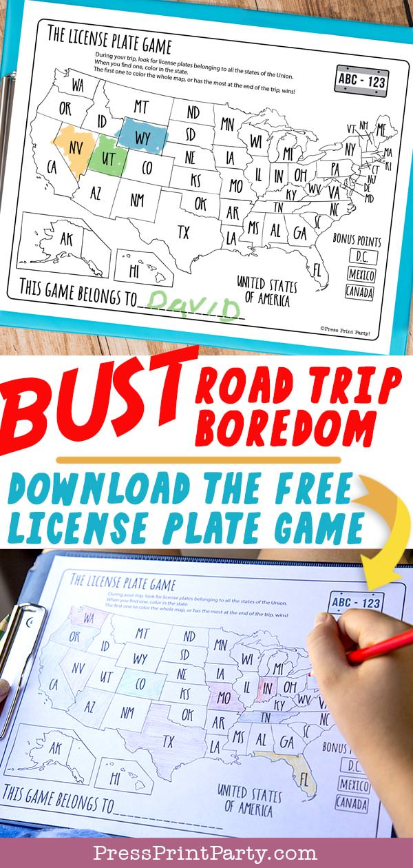 License plate game free printable download - game for road trips