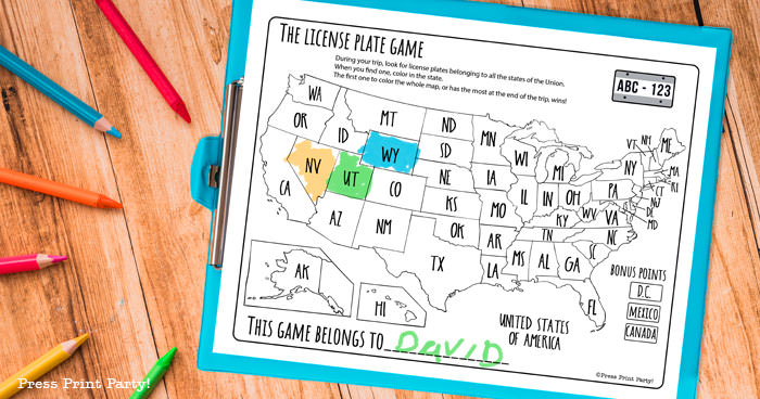 License plate game free printable download