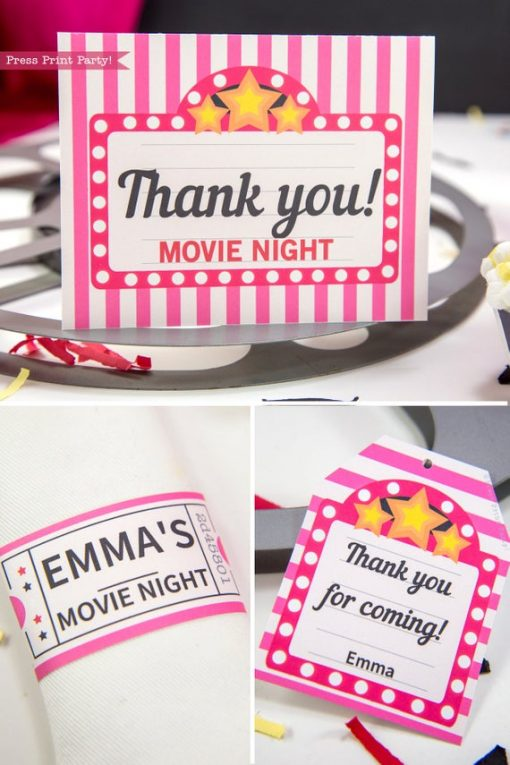 Movie Night party printables pink. thank you note, tag and napkin ring - Press Print Party!