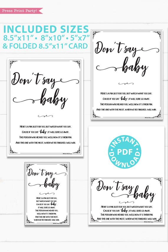 Don't say baby game sign baby shower game printable games instant download Press Print Party!