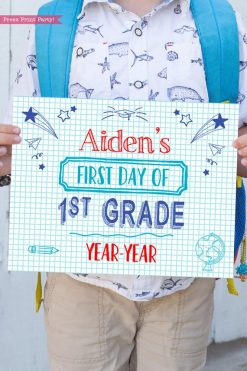 first day of school sign printable notebook style. last day of school sign editable. First day of 1st grade - Press Print Party!