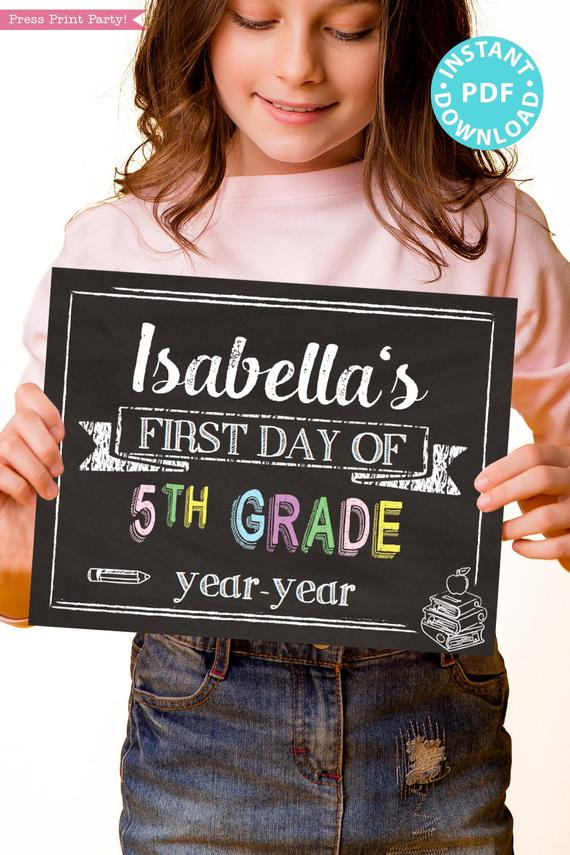 first day of school sign printable pastel chalkboard. last day of school sign editable. First day of 5th grade - Press Print Party!
