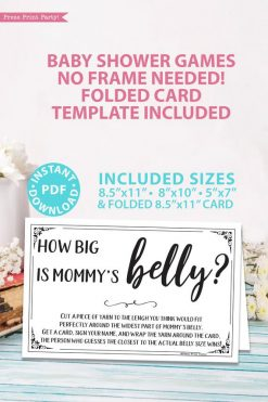 How big is mommy's belly sign and card - game baby shower game printable games instant download Press Print Party!