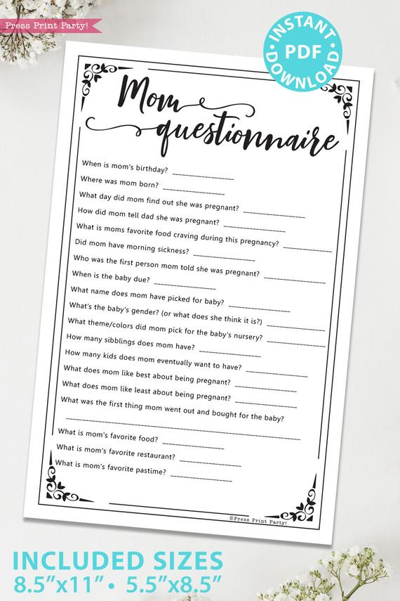 Mom questionnaire game baby shower game printable games instant download Press Print Party!