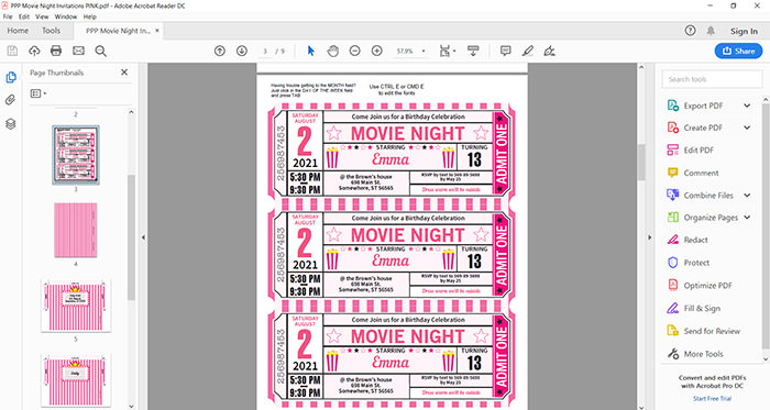 Movie Night invitation printable file press print party!