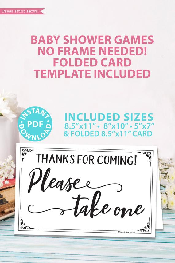 Please take one sign baby shower game printable games instant download Press Print Party!