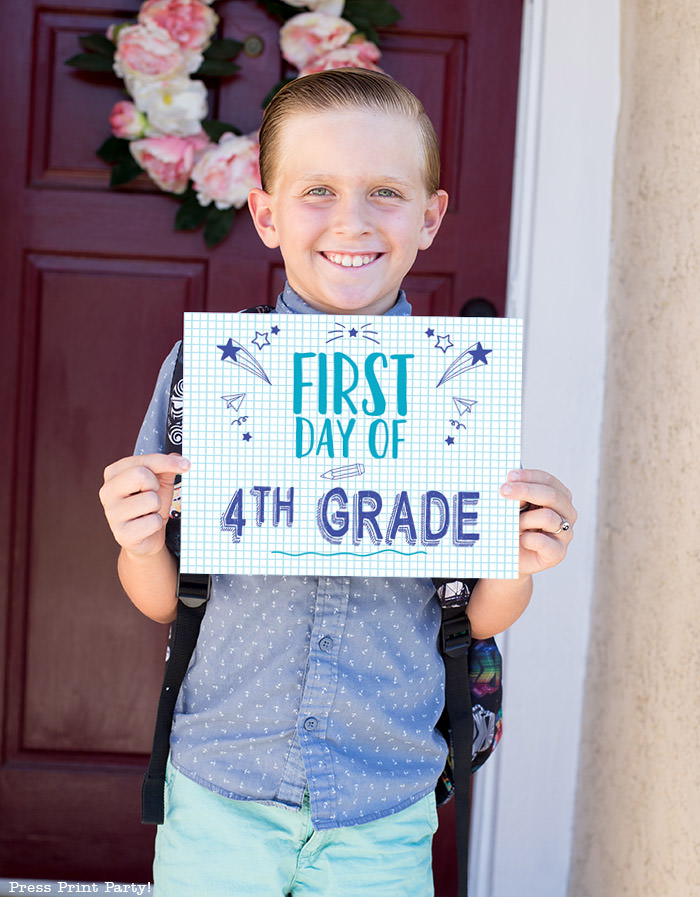 FREE First day of school signs printable - Back to school photo ideas - picture of 1 boy standing. First day of 4th grade. By Press Print Party!