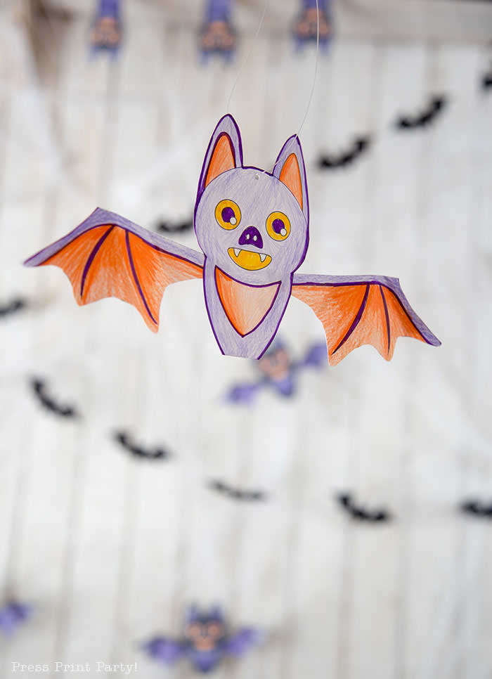 free printable halloween coloring page bat craft - Press Print Party!