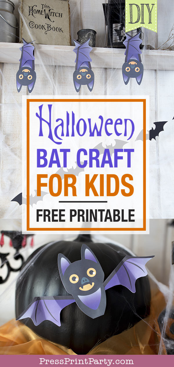 Free printable Halloween craft for kids - printable bat on a black pumpkin - Press Print Party! DIY Halloween decoration ideas. Halloween bat craft for kids. with Halloween coloring pages