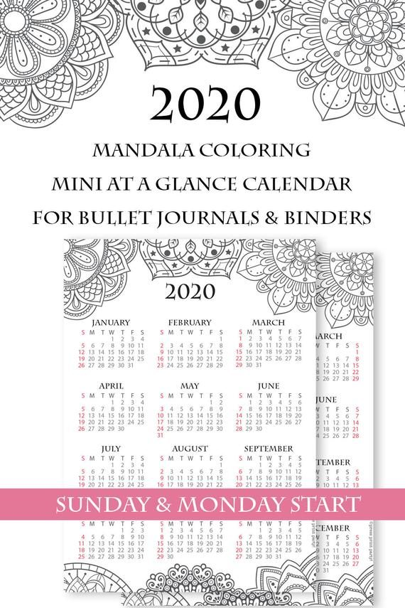 2020 printable calendar template, one page calendar printable, print a calendar, 2020 year planner printable, sunday or monday start, for bullet journals or household binders, A5 planner, pdf, instant download, Monthly Planner, Bullet Journal Printable, planner supply, bujo, bullet journal ideas, bujo ideas, bullet journal for beginners, Press Print Party! cute, coloring, mandala,