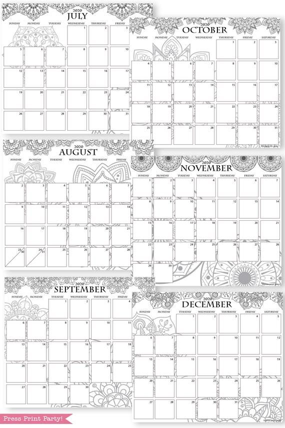2020 printable calendar template, 2020 monthly calendar printable, print a calendar by month, 2020 year planner printable, sunday or monday start, for bullet journals or household binders, A5 planner, bujo, pdf, instant download, Bullet Journal Printable, Monthly Planner bullet journal ideas, bujo ideas, bullet journal monthly layout for beginners, bujo supplies, monthly spread, January, february, march, april, may, june, july, august, september, october, november, december. Planner supply, Press Print Party! cute, coloring, mandala,
