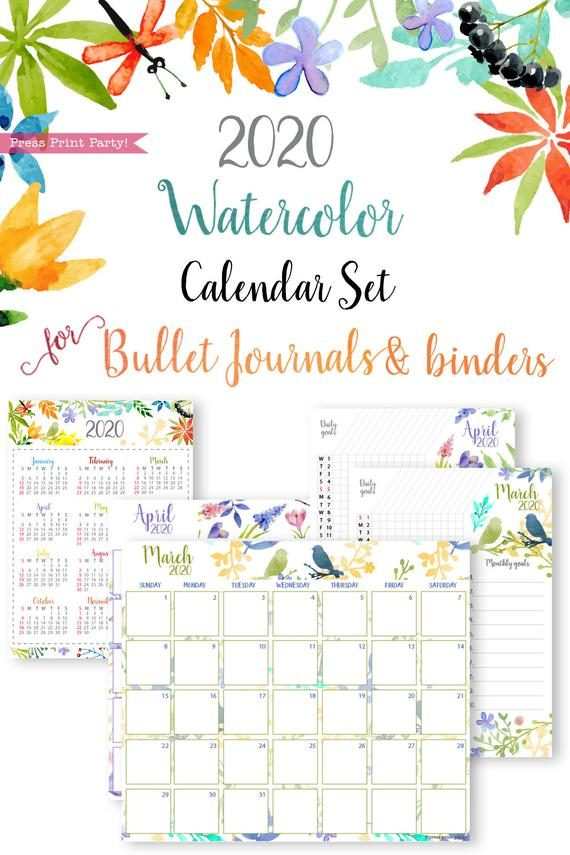 2020 printable calendar template, 2020 monthly calendar printable, one page calendar printable, print a calendar by month, 2020 year planner printable, sunday or monday start, for bullet journal calendar or for household binders, A5 planner, pdf, instant download, Daily trackers, daily routine, habit tracker, Bullet Journal Printable, Monthly Planner supply, bullet journal ideas, bujo ideas, bullet journal monthly layout for beginners, bujo supplies, monthly spread, Press Print Party! beautiful, watercolor design