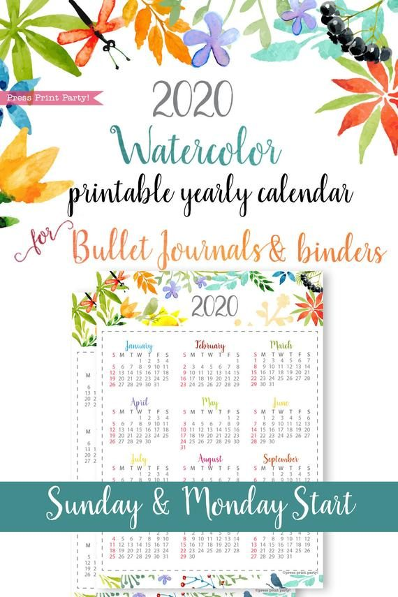 2020 printable calendar template, one page calendar printable, print a calendar, 2020 year planner printable, sunday or monday start, for bullet journal calendars or for household binders, A5 planner, pdf, instant download, Monthly Planner, Bullet Journal Printable, planner supply, bujo, bullet journal ideas, bujo ideas, bullet journal for beginners, Press Print Party! beautiful watercolor design