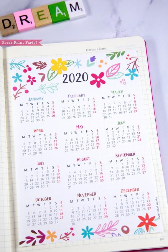 2020 printable calendar template, one page calendar printable, print a calendar, 2020 year planner printable, sunday or monday start, for bullet journal calendars or for household binders, A5 planner, pdf, instant download, Monthly Planner, Bullet Journal Printable, planner supply, bujo, bullet journal ideas, bujo ideas, bullet journal for beginners, Press Print Party! cute, whimsical colorful design