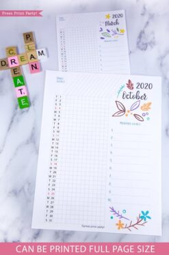 2020 Daily trackers, daily routine, bujo habit tracker, 2020 printable calendar template, 2020 monthly calendar printable, bujo ideas, 2020 year planner printable, for bullet journals or household binders, A5 planner, pdf, bujo, instant download, Bullet Journal Printable, Monthly Planner supply, bullet journal ideas, bujo ideas, bullet journal monthly layout for beginners, bujo supplies, January, february, march, april, may, june, july, august, september, october, november, december.Press Print Party! cute, whimsical colorful design