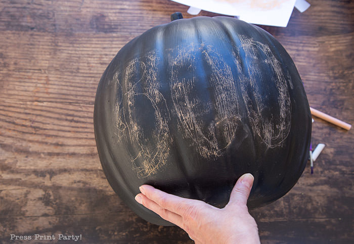 How to do chalk lettering on a chalkboard pumpkin step 4- Press Print Party!
