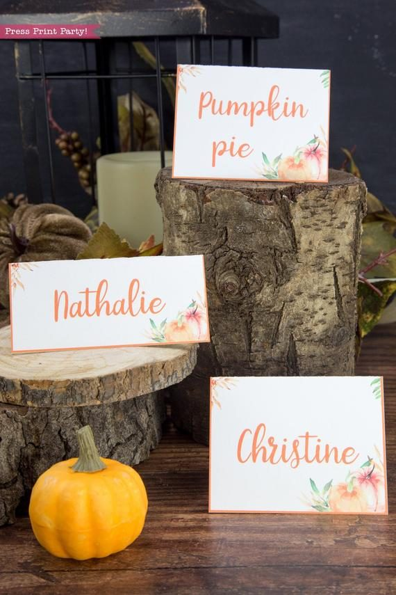 Thanksgiving place cards printable, thanksgiving table decor, pumpkin svg, instant download, pdf, Thanksgiving table setting ideas, tent card, food card, pumpkin decor, pumpkin printable, Farmhouse decor, white wood, rustic place cards. little pumpkin baby shower, Press Print Party!