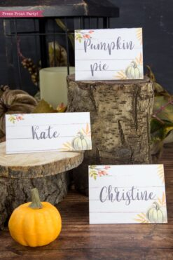 Thanksgiving place cards printable, thanksgiving table decor, pumpkin svg, instant download, pdf, Thanksgiving table setting ideas, tent card, food card, pumpkin decor, pumpkin printable, Farmhouse decor, white wood, rustic place cards. Green pumpkin, Press Print Party!
