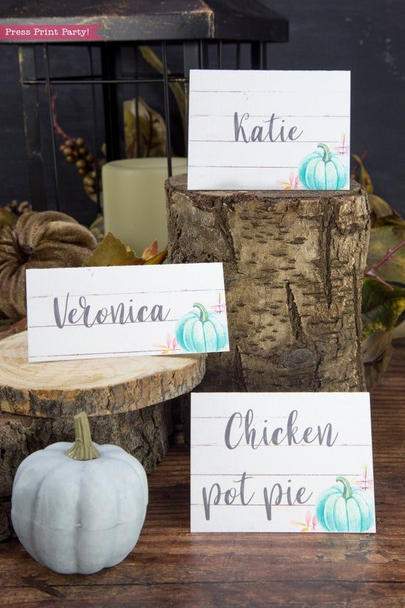Thanksgiving place cards printable, thanksgiving table decor, pumpkin svg, instant download, pdf, Thanksgiving table setting ideas, tent card, food card, pumpkin decor, pumpkin printable, Teal pumpkin decor, rustic, Farmhouse decor, white wood, rustic place cards., Press Print Party!