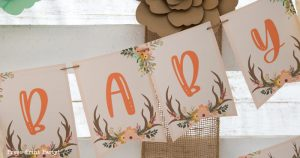 woodland baby shower ideas. Baby banner editable customizable. with antlers and flowers. Woodland animals Baby Shower Theme with woodland creatures and forest animals party supplies. Woodland decoration girl baby shower ideas. Can be used for woodland birthday party. Rustic forest animals with flowers and antlers. Fox baby shower, Deer baby shower.