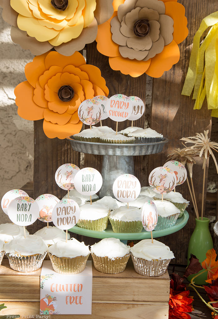 woodland baby shower backdrop and cupcakes with rustic forest animals fox deer ideas