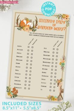 celebrity baby game - Woodland baby shower games and signs w woodland creatures and forest animals like a cute fox, deer, and squirrel. Press Print Party Instant Download