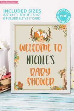 Welcome to baby shower sign with editable name - Woodland baby shower games and signs w woodland creatures and forest animals like a cute fox, deer, and squirrel. Press Print Party Instant Download