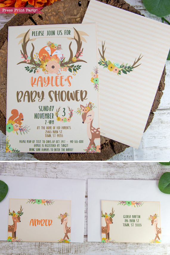 Woodland animals baby shower invitation printable. w envelopes and labels. with woodland creatures like a cute fox, deer and squirrel. Woodland theme idea for girls or boys. Rustic Forest Animals baby shower. Instant download By Press Print Party!