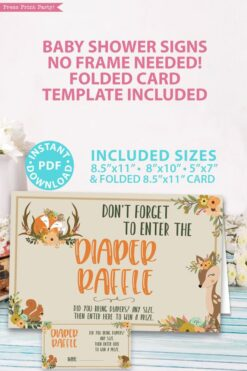 diaper raffle sign. Don't forget to enter the diaper raffle. With ticket - card- Woodland baby shower games and signs w woodland creatures and forest animals like a cute fox, deer, and squirrel. Press Print Party Instant Download