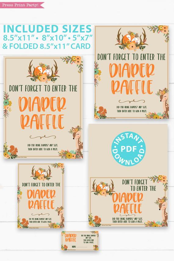 Woodland Theme Diaper Raffle Tickets Sign Printable